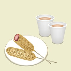 Hot Coffee in Disposable Cup with Corn Dog