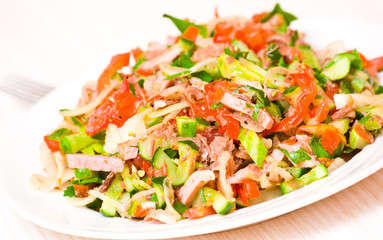 fresh salad with meat and vegetables
