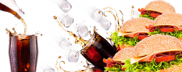 Delicious fast food with burger and cola