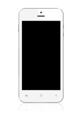 White Smartphone with blank screen on white background