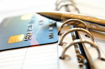 Kreditkarte auf Terminplaner