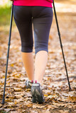 Nordic walking - active girl outdoor