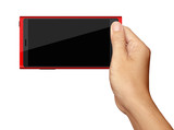 Hand holding on Red Smartphone in horizontal on white background