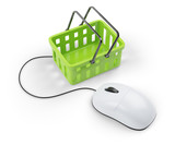 shoping cart and computer mouse
