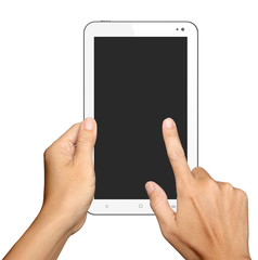 hand holding and touch on tablet computer on white background