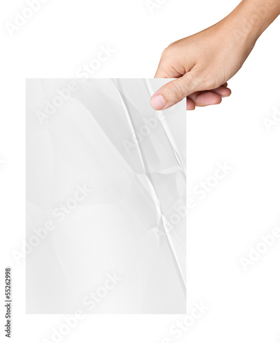 Hand holding white crumpled paper isolated on white background