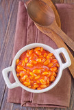 Fototapety white beans with tomato sauce