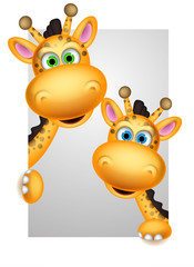 couple giraffe cartoon posing