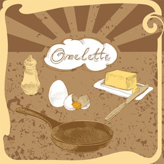 recipe for an omelette. kitchen set