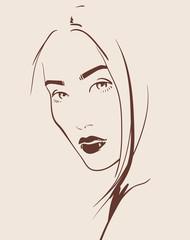 beautiful woman face hand drawn