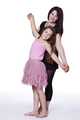 Daughter dancing with her mother
