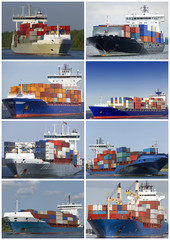 Collage von Containerschiffen
