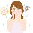 女性 ニキビ 湿疹 肌荒れ  イラスト かわいい