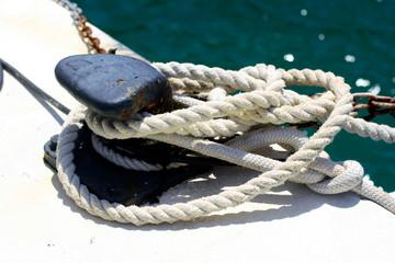 Bollard and ropes