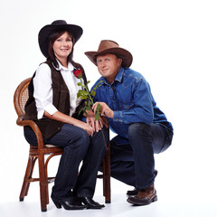 A cowboy couple in love