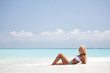 woman on the sand the ocean coast