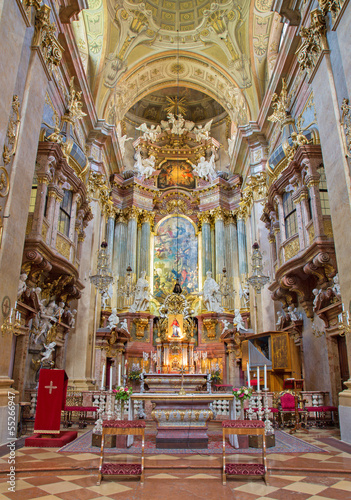 Vienna - Presbytery and main altar of baroque st. Peter church