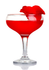 Red alcohol cocktail with rose petals isolated on white