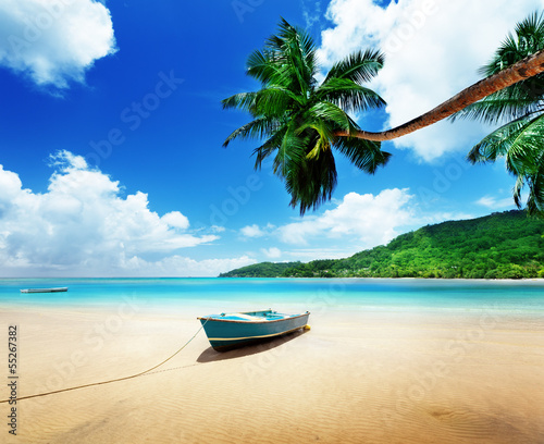 boat on beach Mahe island, Seychelles - 55267382