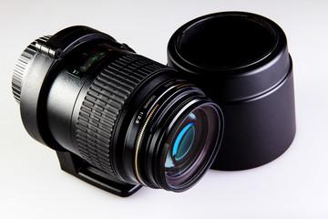 Lens macro with collar and hood