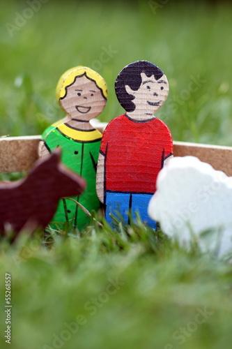 Holzspielzeug Bauer, Bäuerin und Nutztiere