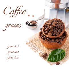 Coffee grains with green leaf and coffee pot