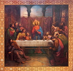 Vienna - Fresco of Last supper of Christ