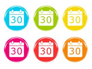 Iconos de colores con símbolo de calendario