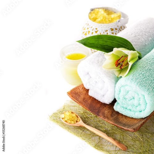 Spa (towel, sea salt, candle and flower lily)