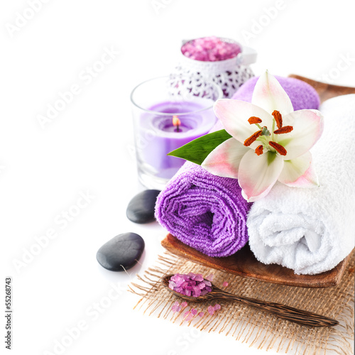 Spa ( towels, massage stones, sea salt and lily flower)