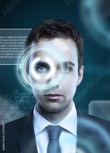 man with eye interface