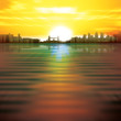 abstract background with sunrise and silhouette of London