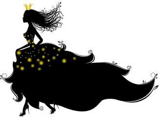 Принцесса бежит, векторный персонаж