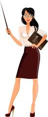 Учительница суказкой и книгой, векторная девушка