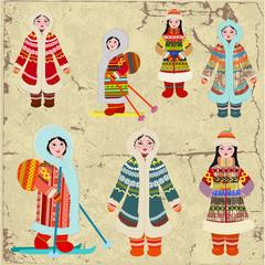 Vintage design with Eskimo women