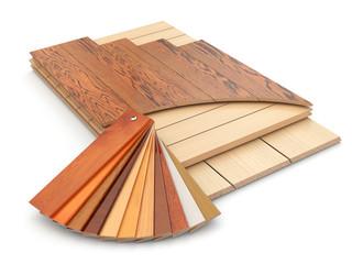 Installing laminate floor and wood samples.