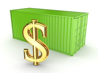 Green container and dollar sign.