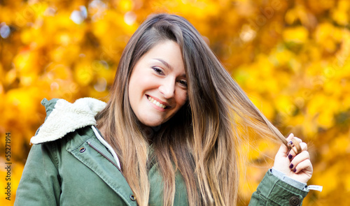 Woman at the park during autumn