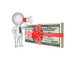 3d person with megaphone and stack of dollars.