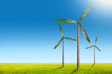 Green energy concept - natural wind generator turbines on summer