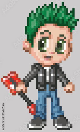 Pixel Art Anime Punk Rocker Boy