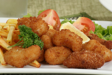 breaded scampi and chips