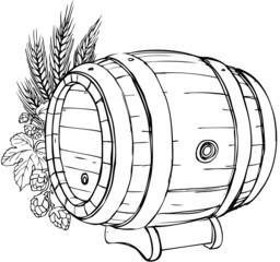 Holz-Bierfaß mit Hopfen und Gerste