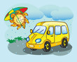 Fun yellow minibus and the sun