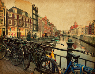 Amsterdam, Netherlands . Photo in retro style. Paper texture.