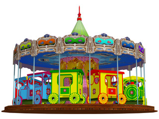 merry-go-round, isolated on the white background