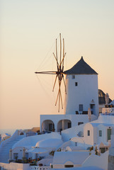 Old windmill in Oia on the island of Santorini