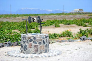 Old traditional Greek well on Santorini