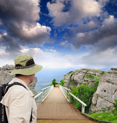 scenic park wooden bridge