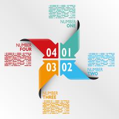 Infografica esempi frecce colorate numeri cerchio